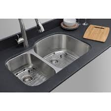 Overstock Stainless Steel Kitchen Sinks by Wells Sinkware 32 Inch Undermount 30 70 Double Bowl 16 Gauge