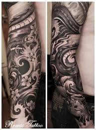Black And Grey Ink Japanese Dragon Sleeve Tattoo Design