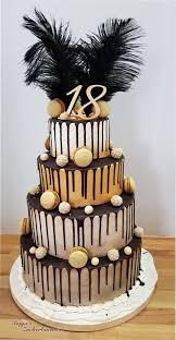 drip cake gold creme schwarz zum 18 geburtstag