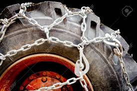 Truck Wheel With Snow Chains Closeup Stock Photo, Picture And ...