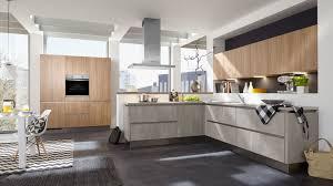 offene l küche quadro culineo mit front in beton perlgrau und eiche nachbildung