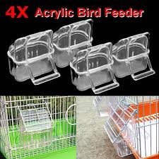 Buy 4x Acrylic Budgie Canary Bird Seed Food Feeder Clear Bowl With