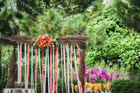 Outdoor Wedding At Burkill Hall Rustic Backdrop For Solemnisation