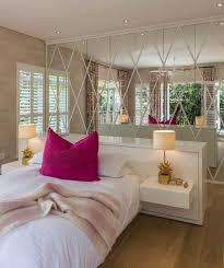 Michele Throssell Interiors Bedroom Paneled Mirrors Splash Of Pink Pineapple Lamps