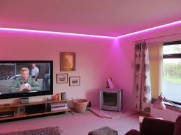 modern false ceiling led lights living room with pink led