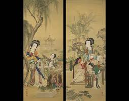 Yang Guifei Reading And Xishi Playing Chinese Harp 1886 Meiji 19 Araki