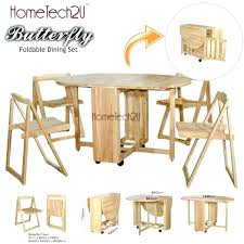 Butterfly Dining Room Table Wooden And 4 Folding Chairs