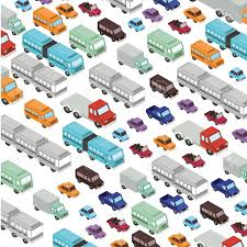 100 Toy Cars And Trucks Set Isometric Pattern Background Vector Illustration