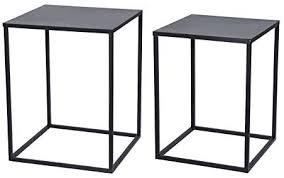 metall beistelltisch 2er set schwarz couchtisch sofatisch wohnzimmer tisch