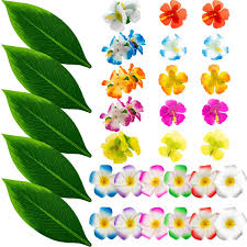 Apipi 32 PCS Luau Hawaiian Party Dress Up Set Hibiscus Flower Hairclips Artificial Tropical Leaves Silk Hibiscus For Summer Beach Moana Tropical