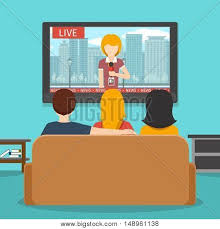 People Watching News On Television Tv Screen And Sofa Man