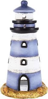 heitmann deco windlicht leuchtturm aus keramik schöne maritime deko tischdeko wohnzimmer blau weiß