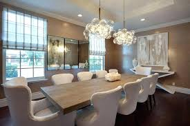 Transitional Dining Room With Chandelier High Ceiling Hardwood Floors Sets