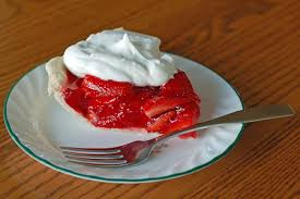 picture of a strawberry pie slice with whipped cream on a plate