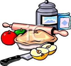 Clipart Picture An Apple Pie and Baking Supplies
