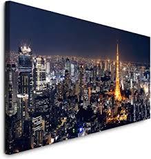 paul sinus gmbh tokyo skyline 120x 50cm panorama leinwand bild format wandbilder wohnzimmer wohnung deko kunstdrucke