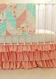 Coral And Mint Baby Bedding by Reminisce Herringbone Quilt Peach And Mint Lottie Da Baby