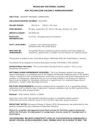 MISSOURI NATIONAL GUARD AIR TECHNICIAN VACANCY ANNOUNCEMENTJOB TITLE AIRCRAFT MECHANIC