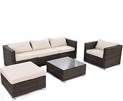de goplus 6 teiliges rattan lounge set grau lounge