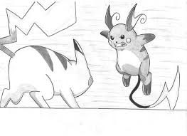 Raichu Against Pikachu Coloring Page