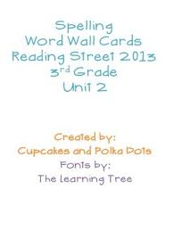 3rd Grade Reading Street Unit 2 Spelling Word Wall Cards Card ReadingColored Paper3rd