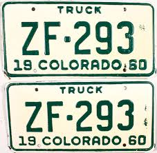 1960 Colorado Truck License Plates | Brandywine General Store