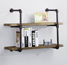 OK Furniture 2 Tiers Rustic Pipe Shelving Industrial Style Wall Shelf With Brown Metal