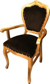 casa padrino barock luxus esszimmer stuhl mit armlehnen schwarz gold barockgroßhandel de