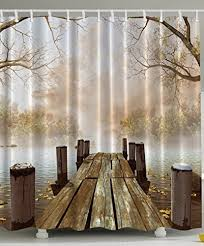 Ocean Decor Fall Wooden Bridge Seasons Mother Day Gifts Lake House Nature Country Rustic Home Brown Curtains Art Paintings Pictures For Bathroom Seascape