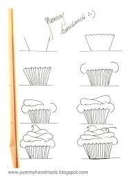 Week 3 Use This For Upside Down Drawing How To Draw A Cupcake Step By Yummyhandmadeblogspot