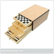 4 In 1 Wooden Board Game With DrawersChessSolitaireBackgammon Tic Tac Toe