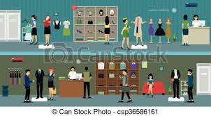 Inside Modern Clothing Store A Vector Illustration Of View
