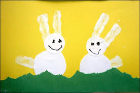 Craft Ideas For Kids Bunny Pictures From Hand Stamp