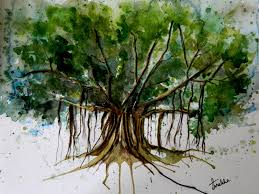 Banyan Tree Easy Drawing Pencil Drawing Water Color Drip Painting Banyan Tree
