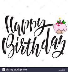 Happy birthday lettering for invitation and greeting card Hand drawn inscription calligraphic design Vector illustration Pink berry cake