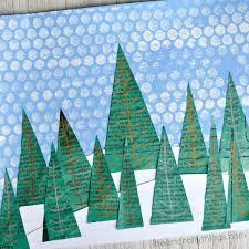 Newspaper Winter Landscape Art Project