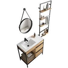 salgar vinci badmöbel set waschtisch 85cm unterschrank spiegel und regal industriedesign