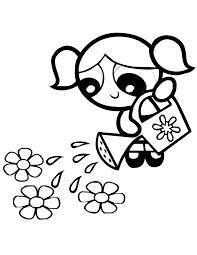 Powerpuff Girls Watering The Flowers Coloring Pages For Kids Printable
