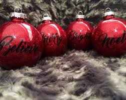 Buffalo Plaid Christmas Tree Ornaments Set Of 4 Merry Bright Believe Noel Red Sparkle Glass Ball Ornament