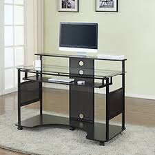 Glass And Metal Computer Desk With Drawers by Desks At Office Depot Officemax
