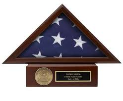 Small American Flag 3x5 Display Case Set With Pedestal Base Free Medallion Engraving Shipping 2018 Made USA Personalized
