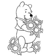 Pooh Loves Collecting Flowers Winnie The Riding Toy Horse Coloring Pages