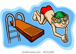 Vector Illustration Of A Happy Kid Diving Off Board