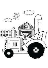 Tractor Farm With Wooden House And Small Garden Coloring Page