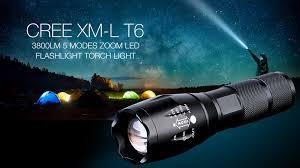 cree xm l t6 1 led 3800lm 5 modes zoom led flashlight torch light