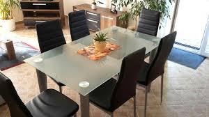 esszimmertisch rund glas chrom 4 stühle weiss ku