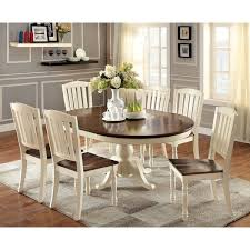 Furniture Of America Bethannie Cottage Style 2 Tone Oval Dining Table Dimensions