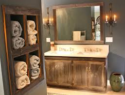 Bathroom Marvelous Grey Accents Wall Painted For Design Idea Using Reclaimed Wood Vanity Storage