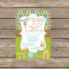 Printable Girl Or Boy Jungle Zoo Animals Baby Shower Invitation