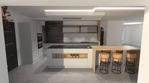 cuisiner avec l induction cuisine design gris clair et bois avec grand lot et avec ilot